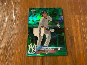 2020 TOPPS CHROME GLEYBER TORRES RETRO ROOKIE GREEN /99 GAME JERSEY