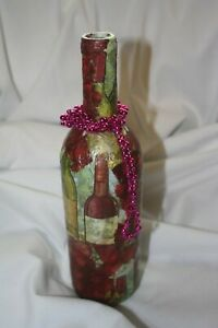 decorative wine bottle recycled with beads