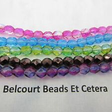 5 STD 6mm Czech Crystal 6mm Round Bicone Beads 5 Colors Blue Pink Green Copper