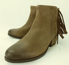 Clarks Wos Boots Artisan Gelata Flora US 5.5 M Brown Leather Fringe Zip 6166