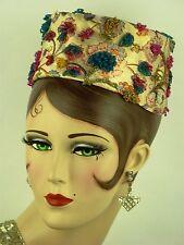 Cappello VINTAGE 1960 S, IRENE DI NEW YORK PER Joseph Magnin, con perline Broccato Fortino