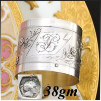 Antique French .800 (nearly sterling) Silver Napkin Ring, Foliage & Flowers