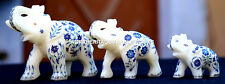 Lot of 3 Pcs Antique Marble Elephant Trunk Up Mosaic Inlay Marquetry Decor H1961