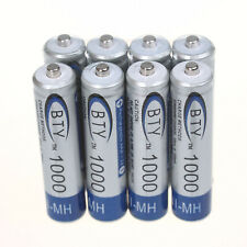 Lot of 8pcs BTY Ni-MH AAA 1000mAh 1.2V Rechargeable Battery for MP3 RC Toys New