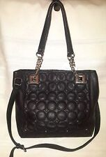 NEW CALVIN KLEIN  leather quilted convertible SATCHEL TOTE black