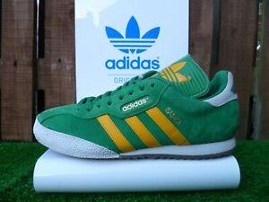 ADIDAS SAMBA SUPER 80s casuals UK 8 GREEN/YELLOW/WHITE COLOURWAY LOOK!!