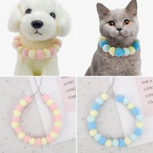 Cute Fashion DIY Dog Cat Collar Pet Puppy Neck Pompom Fur Ball Elastic Collar