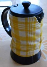 New Padded Cafetiere Cosie Hook & Loop Fastening Small size Yellow/Ivory Checks