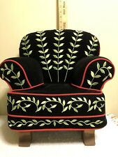 Mary Engelbreit doll-size Chair ~ black velvet, red piping, wooden feet