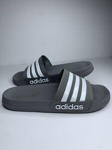 Adidas Adelitte Mens Cloudfoam Gray Grey Beach Slippers Slides Shoes Mens Sz 13