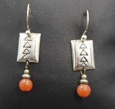 Southwestern Style Sterling Silver Rectangle Arrow Pattern with Bead Earrings