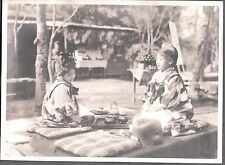 VINTAGE 1920'S TOKYO JAPAN PRETTY YOUNG GIRLS DRINKING TEA FASHION OF ERA PHOTO