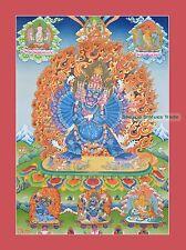 "52.25"" x 38"" Yamantaka / Jigche Tibetan Buddhist Thangka/Thanka Painting Nepal"