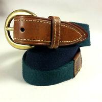 VINTAGE Men's ALEXANDER JULIAN USA Leather & Textile Green/Navy Brass Buckle-32