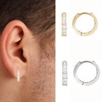 10K Gold Mens Single CZ Huggie Hoop Earring 12mm (Yellow or White) (1/2 Pair)