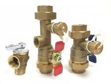 "1"" Tankless Water Heater Isolation Valve Kit - Navien Bosch Rheem, Threaded"