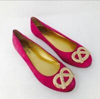 Kate Spade Shoes Sz 6.5 Pink Pretzel Ballet Flats Embellished Magenta Suede