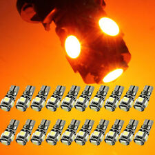 20Pcs Yellow Canbus Error Free T10 194 W5W 5050 5SMD Car LED License Light Amber