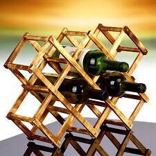 Wooden Wine Rack Organizer Stand Display Storage 10 Bottles Kitchen Exhibition