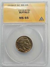 1938-D 5C Buffalo Nickel Gem Brilliant Uncirculated ANACS MS 65