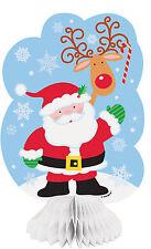 3 Cute Cheerful Santa Reindeer Honeycomb Decorations Christmas Table Party Xmas