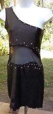 Black One Shouldered Stretchy Dress/Leotard w/Sheer Waist Window All Around S-M