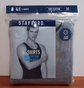 Stafford Men's 4-Pack 100% Cotton Ribbed Tank Top A-Shirts Black/Grey