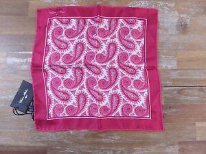 CESARE ATTOLINI Napoli paisley motif silk pocket square authentic - NWT