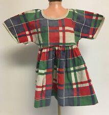 "Vintage Tagged GUND MFG CO Plaid 10"" Doll Dress"
