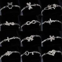 Charm Women Crystal Cute Animal 925 Silver Bracelet Bangle Chain Jewelry Gifts