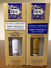 RoC RETINOL Deep Wrinkle DAILY Mosisturizer SPF 30 and NIGHT Cream 1.1 oz (33ml)