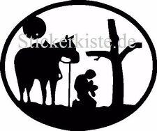 2 x Cowboy vor Kreuz praying Horse Pferd Western Die Cut Fun Decal Sticker 15cm