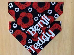 Personalised Poppy Fabric Dog bandana, choice of sizes.
