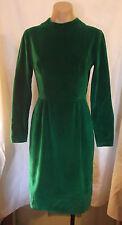 50-60s Christmas Green Velveteen  Dress w/ Cape or Overskirt  sz S