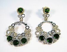 NATURAL 4.00 CTW CHROME DIOPSIDE w. CZ EARRINGS  14k 2-TONE GOLD over 925 SILVER