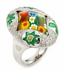 ALAN K. EXQUISITE COLLECTION FEATURES FACETED MULTICOLOR MURANO GLASS CZ RING