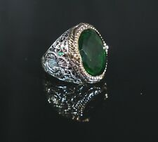 925 Sterling Silver Handmade Authentic Turkish Emerald Men's Ring Size 7-11