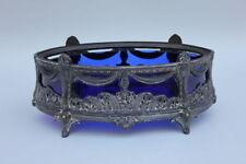 Tafelaufsatz Silberzinn Zinn versilbert blaues Glas, Frankreich, um 1900