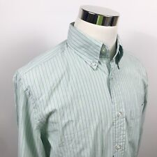 Orvis Mens Medium Cotton Casual Button Down Shirt Green Blue Striped