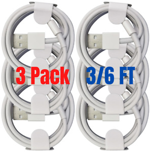 3 Pack USB Fast Charger 6Ft 3Ft For iPhone 12 11 XR 8 7 6 5 Charging Cable Cord