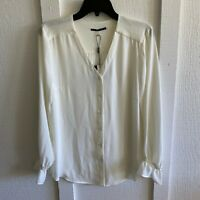 T Tahari Womens Top Medium Ivory Feminine Button Front Long Sleeve Blouse Career