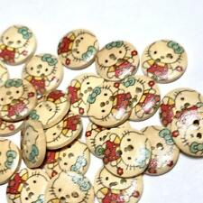 20 pcs 15mm Hello Kitty print 2 hole wooden buttons / sewing supplies