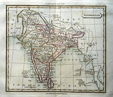 INDIA  SRI LANKA  MALDIVE ISLES  Original Hand Coloured Antique Map  1821