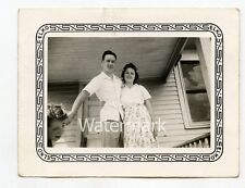 1940s vintage trick photo Young Couple on porch  Body Out Of Frame