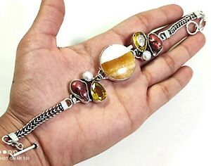 Yellow Aventurine Red Biwa Pearl Citrine Gemstone Jewelry Silver Bracelet B-548