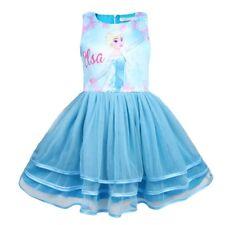 Girls Tutu Dress Kids Frozen Elsa Princess Casual Party Birthday Dresses O74
