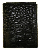 Wallets Mens Trifold Crocodile Embossed Credit Card ID Leather Black Wallet