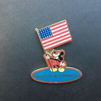 WDW - Mickey Holding USA Flag Red Background Disney Pin 7859