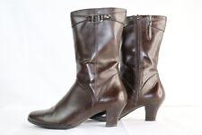 Predictions Mid-calf Womens Chocolate Brown Zip Up Boots 2 in Heel Sz 6 1/2
