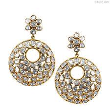 18k Yellow Gold Rose Cut 5.8 Ct Diamond Dangle Earrings Anniversary Fine Jewelry